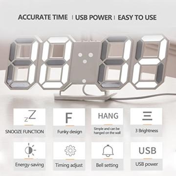 EVILTO- LED Digital-Wecker dimmbar, Digital LED Tisch & Wanduhr Wecker mit einstellbarer Helligkeit Funktion für Schreibtisch Wand Bett (Weiß-Blau) - 4