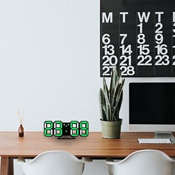 EVILTO- LED Digital-Wecker dimmbar, Digital LED Tisch & Wanduhr Wecker mit einstellbarer Helligkeit Funktion für Schreibtisch Wand Bett (Weiß-Blau) - 5