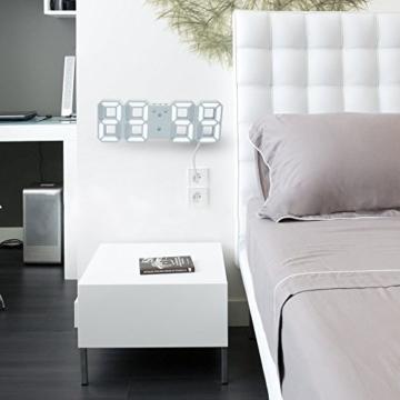 EVILTO- LED Digital-Wecker dimmbar, Digital LED Tisch & Wanduhr Wecker mit einstellbarer Helligkeit Funktion für Schreibtisch Wand Bett (Weiß-Blau) - 6