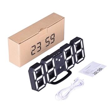 EVILTO- LED Digital-Wecker dimmbar, Digital LED Tisch & Wanduhr Wecker mit einstellbarer Helligkeit Funktion für Schreibtisch Wand Bett (Weiß-Blau) - 7