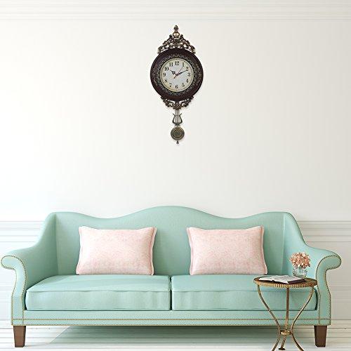 giftgarden wanduhr klassisch f r schlafzimmer wohnzimmer mit pendel uhr wand vintage design. Black Bedroom Furniture Sets. Home Design Ideas