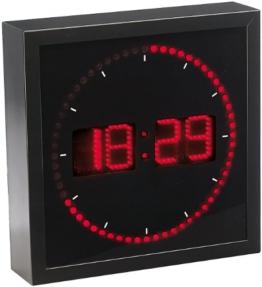 Große LED Wanduhr rot mit Angaben der Stunden, Minuten und Sekunden. Sehr hell und geeignet, Studien zu lokalen, drehbar - 1