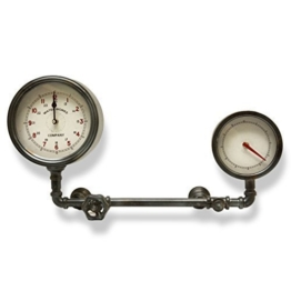 Große Wanduhr Antik Shabby Stil Uhrwerk Nostalgie Uhr Wasserrohr aus Metall von Haus der Herzen® - 1