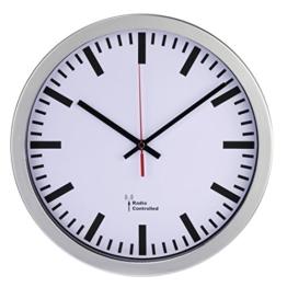 Hama Funk Wanduhr Bahnhof (automatische Zeiteinstellung, 30 cm Durchmesser) silber - 1