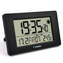 iTronics Digitale Funkwanduhr Tischuhr mit Temperaturanzeige & Countdown-Timer, Schwarz - 1