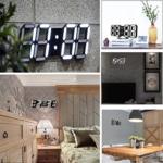 Keepwin LED Elektronische Wanduhr 3D Stereoskopische Digital Tabelle Wecker Tischuhr Wanduhr 24 12 Stundenanzeige Helligkeit Einstellbar Table Desk Clock Mit Snooze-Funktion (Schwarz D) - 2