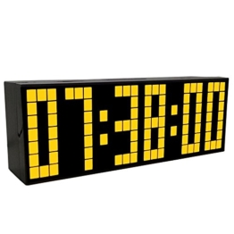 LambTown 2nd Generation Snooze LED Digital Wecker Große Countdown Timer mit Thermometer Kalender Display - Gelb - 1