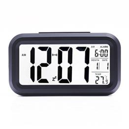 LCD Digital Wecker VPOWER® Großer Display, Schlummertaste, Datumsanzeige, Temperatur und Sensor Digitaler Wecker Uhr Licht Schwarz - 1
