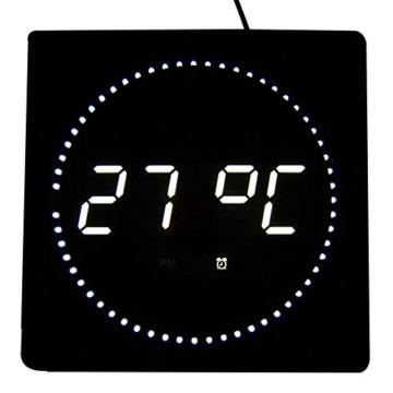 LED digitale Wanduhr mit Datum- & Temperaturanzeige, Maße: 32 cm x 32 cm x 3 cm (Farbe: Weiß) Goldfull® - 2