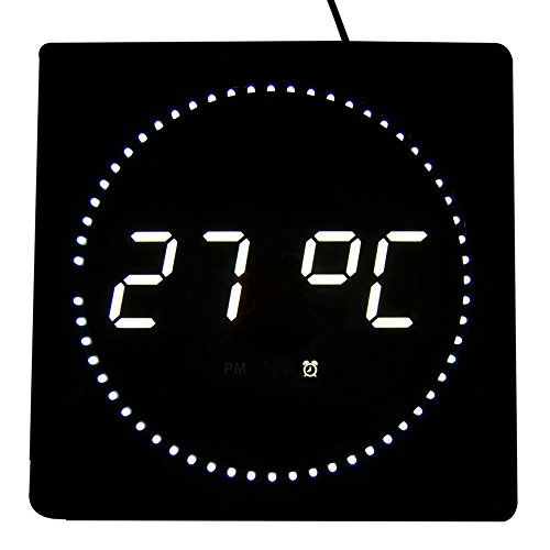 led digitale wanduhr mit datum temperaturanzeige ma e 32 cm x 32 cm x 3 cm farbe wei. Black Bedroom Furniture Sets. Home Design Ideas