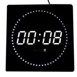 LED digitale Wanduhr mit Datum- & Temperaturanzeige, Maße: 32 cm x 32 cm x 3 cm (Farbe: Weiß) Goldfull® - 1