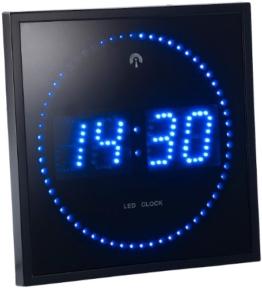 Lunartec Digitale Funkwanduhr: LED-Funk-Wanduhr mit Sekunden-Lauflicht durch blaue LEDs (Uhr LED) - 1