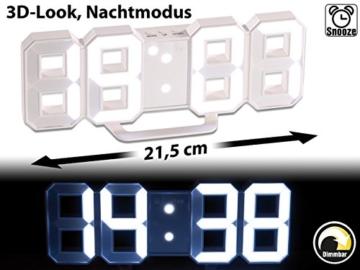 Lunartec Digitaluhr: Große Digital-LED-Tisch- & Wanduhr, 7 Segmente, dimmbar, Wecker, 21 cm (LED Tischuhr) - 2