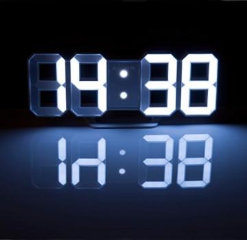 Lunartec Digitaluhr: Große Digital-LED-Tisch- & Wanduhr, 7 Segmente, dimmbar, Wecker, 21 cm (LED Tischuhr) - 5