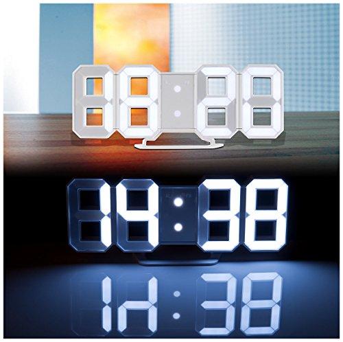 Lunartec Digitaluhr: Große Digital-LED-Tisch- & Wanduhr, 7 Segmente, dimmbar, Wecker, 21 cm (LED Tischuhr) - 1