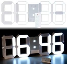 Lunartec Jumbo LED Uhr: Digitale XXL-LED-Tisch- & Wanduhr, 45 cm, dimmbar, Wecker, Fernbedien. (Wand-Uhren) - 1