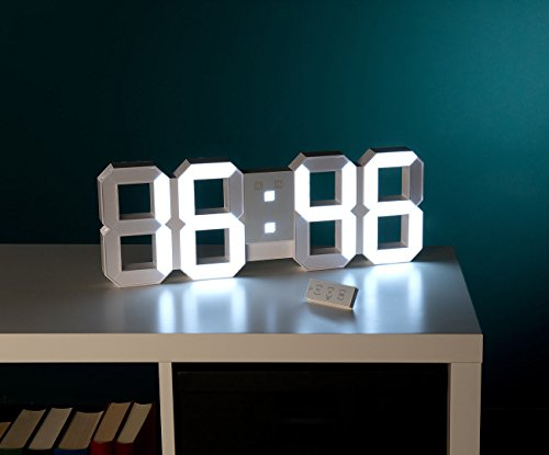 lunartec jumbo led uhr digitale xxl led tisch wanduhr 45 cm dimmbar wecker fernbedien. Black Bedroom Furniture Sets. Home Design Ideas