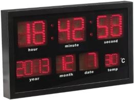 Lunartec LED Funkuhr: Multi-LED-Funk-Uhr mit Datum und Temperatur, 412 rote LEDs (Digital Uhren) - 1