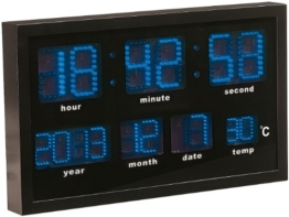 Lunartec LED Funkwanduhr: Multi-LED-Funk-Uhr mit Datum und Temperatur, 412 blaue LEDs (Wanduhr LED) - 1