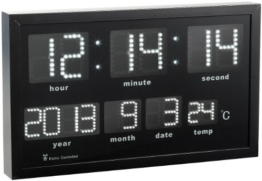 Lunartec LED Funkwanduhr: Multi-LED-Funk-Uhr mit Datum und Temperatur, 412 weiße LEDs (Funk Wanduhren) - 1