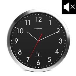 ONETIME MNU 3300 Schwarze Funkwanduhr aus Aluminium mit LAUTLOSEM Sweep Uhrwerk 12 Zoll (Ø) 30,5 cm - 1