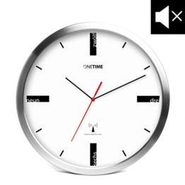 ONETIME MNU 5200 Designer Funkwanduhr aus Aluminium mit LAUTLOSEM SWEEP Uhrwerk - 30,5 cm 12 Zoll (Ø) - kein Ticken - 1