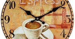 perla pd design Wanduhr Küchenuhr Vintage Design Espresso ca. Ø 28 cm - 1