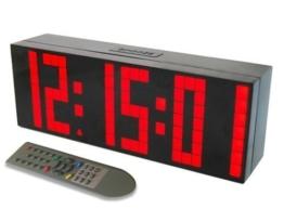 Redlution Große LED Uhr Digitale Wanduhr Jumbo großen Zahlen Display Schreibtisch Tischuhr mit Fernbedienung, Snooze,Alarm,Countdown,Temperatur (Rot) - 1