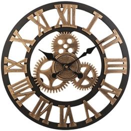 SOLEDI Wanduhr Europäische Vintage Handarbeit 3D Dekorative Zahnrad aus Holz (Farbe Kupfer) - 1