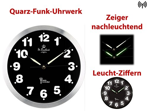 st leonhard beleuchtete uhr funk wanduhr mit wei er led. Black Bedroom Furniture Sets. Home Design Ideas