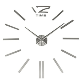 3D Wanduhr DIY Design Wohnuhr, MECO Nummer Ziffer Uhr Wandaufkleber Wandtattoo Deko, Acryl Spiegel Metall Rahmenlose Wandaufkleber groß Uhren Style Raum Home Dekorationen Tolles Geschenk - 1