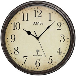 AMS 5962 Wanduhr Funkuhr Wand Vintage Uhr Style Metallgehäuse in antiker Holz-Optik Dekouhr - 1