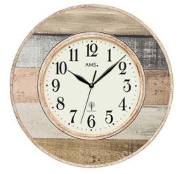 AMS F5975 Funk-Wanduhr, Holz, mehrfarbig, 38 x 38 x 6 cm - 1