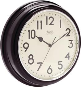 Analoge Retro Vintage Landhaus 32cm Wanduhr - Quarz - Designer Uhr rund Küche / Büro / Schlafzimmer etc- schwarz - 1