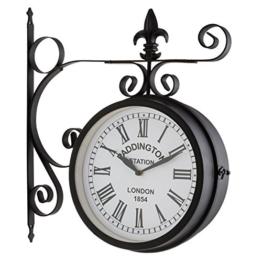 Blumfeldt Paddington Uhr Retro-Wanduhr Bahnhofsuhr (doppelseitig, schmiedeeisernes Design, 41x45x11cm, römische Zahlen, Batterie-Betrieb, inklusive Wand-Montage-Set) schwarz - 1