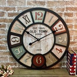 COCO American Style Ländliche Wanduhr Wohnzimmer Bar Cafe Persönlichkeit Industrielle Winde Große Nostalgische Retro Uhren und Uhren HOME ( Color : 10 ) - 1