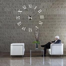 Design Wand Uhr DIY Große Wanduhr 3D Effekt Home Wandtattoo Dekoration Abnehmbarer Geräuschfrei (BGM0016, Silber) - 1