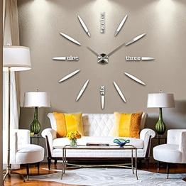 DIY 3D Große Wanduhr Modelle Dekoration Spiegel Aufkleber Wandsticker Große Uhr Geschenk Empfehlen (Silber) - 1