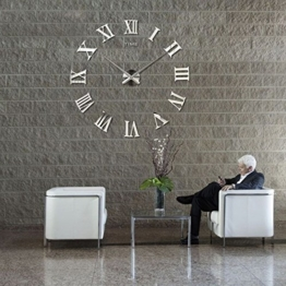 DIY Wanduhr Moderne Clock 3D Acryl Spiegel Metall Rahmenlose Wandaufkleber groß Uhren Style Raum Home Dekorationen Tolles Geschenk - 1