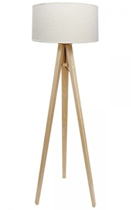 Dreibein Stehlampe Jalua F Velours creme & gold Stativ aus Kiefernholz H: 140cm - 1