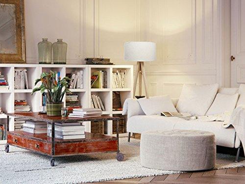 dreibein stehlampe jalua f velours creme gold stativ aus kiefernholz h 140cm 3 redidoplanet. Black Bedroom Furniture Sets. Home Design Ideas