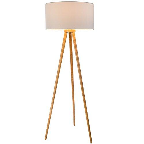 Stehlampe Aus Eiche Und Lampenschirm Aus Heu: Stehlampe Holz Dreibein. Stehlampe Dreibein Holz Haus