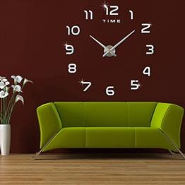 FAS1 Moderne DIY Große Wanduhr Big Armbanduhr Aufkleber 3D Aufkleber Spiegel Effekt Acryl Wanduhr Home Office Abnehmbarer Dekoration (Akku Nicht Enthalten) Schwarz - 1