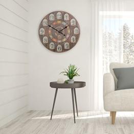 FineBuy Deko Vintage Wanduhr XXL Ø 60 cm France Holz bunt | Große Uhr rustikal Dekouhr rund | Design Retro Küchenuhr für Küche & Wohnzimmer - 1