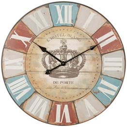 FineBuy Deko Vintage Wanduhr XXL Ø 60 cm Hotel Blance Braun römische Ziffern | Große Uhr rustikal Dekouhr rund | Design Retro Küchenuhr für Küche & Wohnzimmer - 1