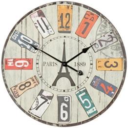 FineBuy Deko Vintage Wanduhr XXL Ø 60 cm Paris | Materialmix Holz Metall | Große Uhr rustikal Dekouhr rund | Design Retro Küchenuhr für Küche & Wohnzimmer - 1