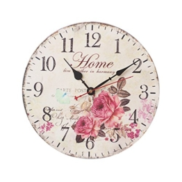 FOKOM 12 Zoll 30cm Holz Lautlos Vintage Wanduhr Uhr Wall Clock ohne Tickgeräusche - 1