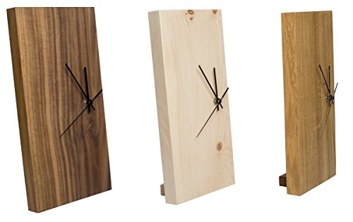 funk wanduhr eiche massiv echt holz uhr als standuhr tisch uhr verwendbar einseitig mit. Black Bedroom Furniture Sets. Home Design Ideas