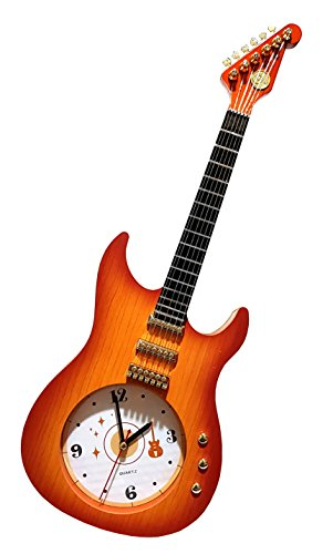 gro e holz optik quarz wanduhr standuhr gitarren gitarrenform musiker bar deko werkzeug. Black Bedroom Furniture Sets. Home Design Ideas