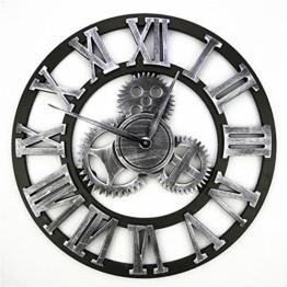 Große Wanduhr Eisen Retro Dekorative Wanduhr Große Art Gear Startseite Kreative römische Ziffern Uhr für Bar Café 16 Zoll - 1
